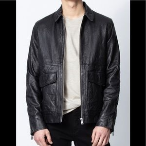 Zadig & Voltaire Mens Boby Crinckle Leather Jacket